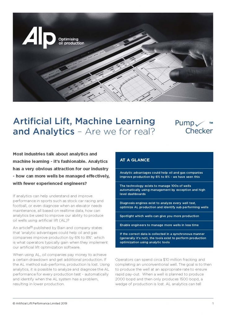 Artificial Lift Maching Learning and Analytics ESP Optimization