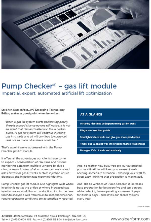 Pump checker - gas lift module