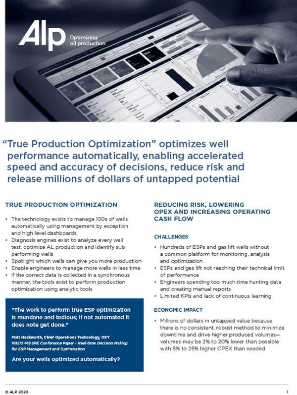 True Production Optimization ALP 2020